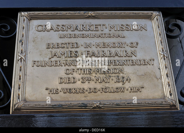 Plaque,Grassmarket Mission, erected in Memory of James Fairbairn, Edinburgh,Scotland,Uk - Stock Image