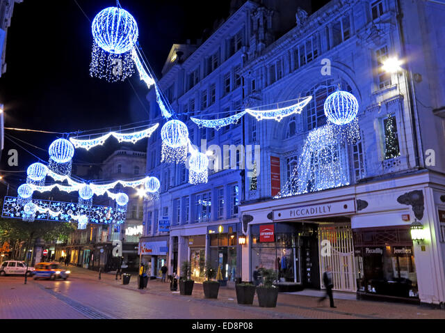 Piccadilly Arcade in Birmingham lit with Xmas lights, west Midlands, England, UK at Night - Stock Image
