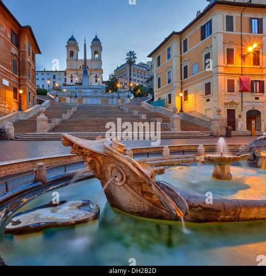 Spanish Steps at dusk, Rome - Stock Image