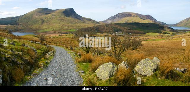 Mynydd Drws-y-coed - Y Garn (Nantlle Ridge) and Mynydd Mawr over Llyn-y-Gadair, Snowdonia, North Wales, UK - Stock Image