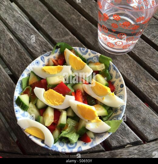 Healthy salad and water - Stock Image