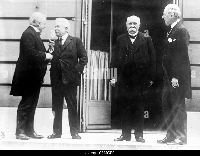 Prime Minister David Lloyd George, Premier Vittorio Orlando, Premier Georges Clemenceau, and President Woodrow Wilson - Stock Image