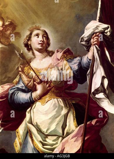'fine arts, Grasmayr, Johann Georg, (1691 - 1751), painting, 'Saint Ursula', detail, diocesan museum, - Stock Image