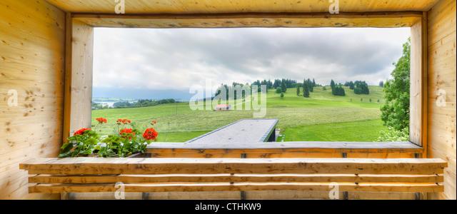 Beautiful balcony view on Bavarian landscape - Stock-Bilder