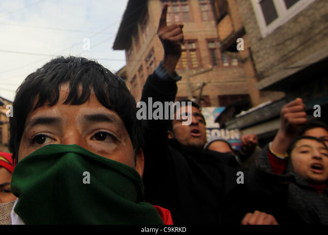 Activists and supporters of Jammu Kashmir Liberation Front (JKLF) shout freedom slogans during a protest in Srinagar,the - Stock Image