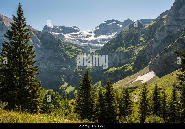 Alpine valley of Bonavu d'en Bas, in front of Mont Ruan 3057m, Champéry, Canton of Valais, Switzerland - Stock Image