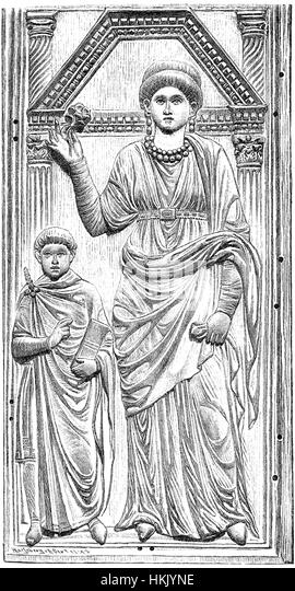 Young Valentinian III with his mother, Aelia Galla Placidia, 388-450, regent to Valentinian III from 423 until 437 - Stock-Bilder