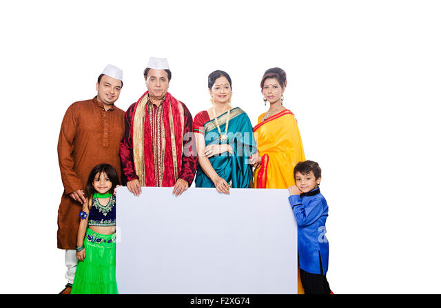 indian group Marathi Joint Family Diwali Festival Message Board showing - Stock Image
