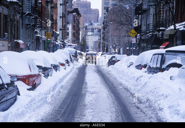 Thompson Street SOHO New York after snow storm 2003 - Stock Image