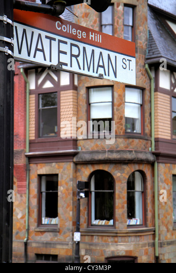 Rhode Island Providence College Hill Waterman Street apartment building - Stock Image