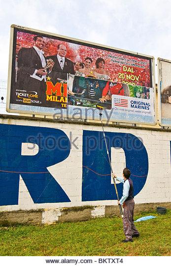 billboards,neighborhood Affori,Milan,Lombardy,Italy - Stock Image