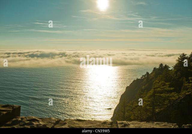 Sunlight over the ocean, Seaside, Oregon, USA - Stock Image