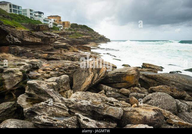 Views from the Bronte to Bondi coastal path. Sydney Eastern beaches, NSW, Australia. - Stock Image