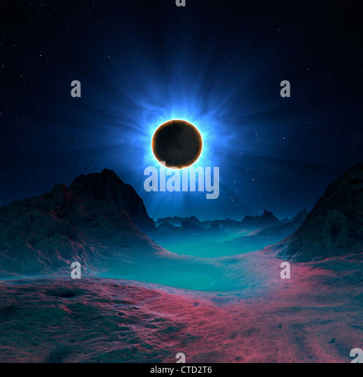 Solar eclipse in alien planetary system - Stock Image