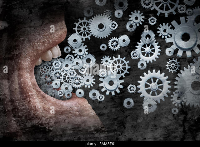 Business communication and marketing success concept as an open  human mouth  spreading a message with social media - Stock Image