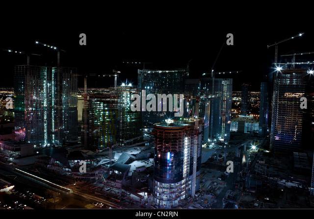 Skyscrapers and construction, Las Vegas, Nevada, USA - Stock Image