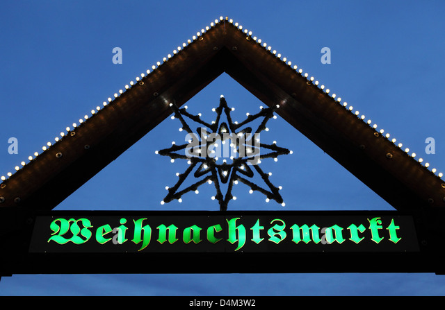 Sign for the Christmas Market (Weihnachtsmarkt) in Stuttgart, Germany. - Stock Image