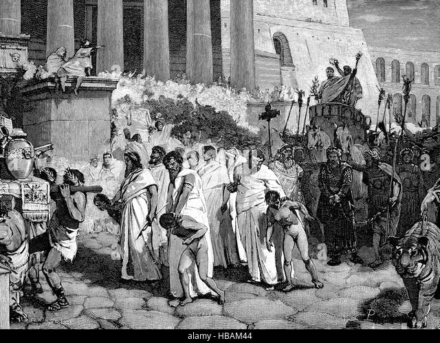Greek mythology, king Perseus and his sons in the triumphal procession of Aemilius Paullus, hictorical illustration - Stock Image