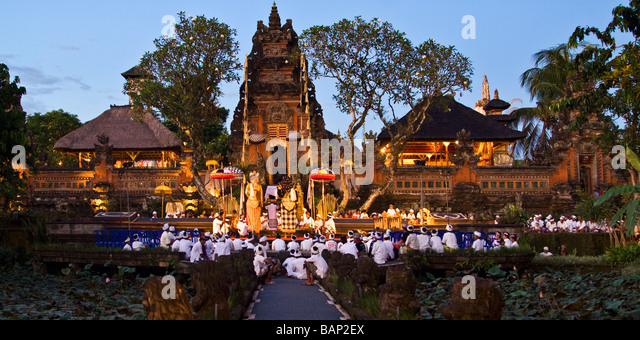 Temple in Ubud during Koningan Ceremony Bali Indonesia - Stock Image