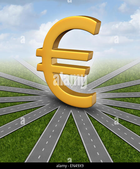 Euro direction currency concept and financial guidance symbol as a european money icon in the middle of radial converging - Stock-Bilder