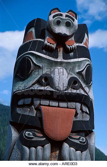 Alaska Ketchikan Council of Clans Totem Circle Tlingit Native American totem pole - Stock Image