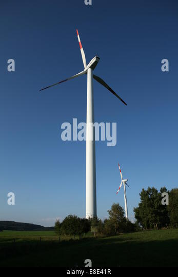 Stationary Wind turbine in countryside - Stock Image