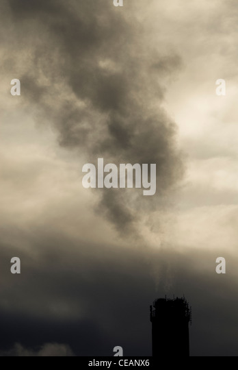 Smokestack and sky - Stock Image