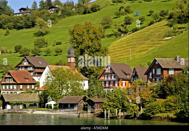Lake Lucerne Luzern Switzerland swiss traditional alpine  chalets - Stock Image