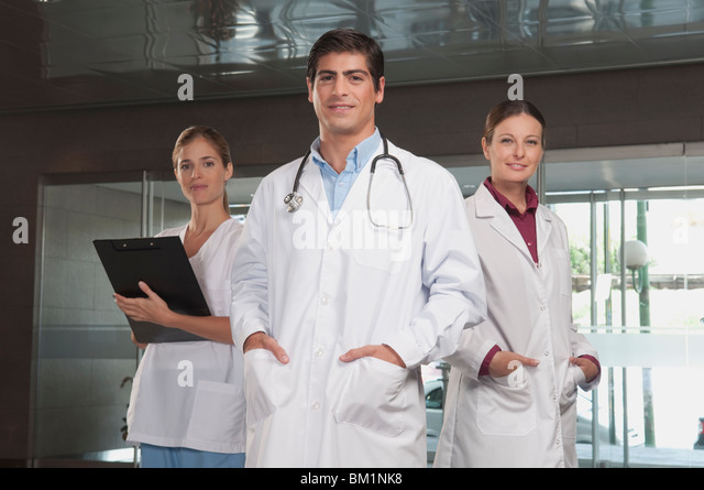 Portrait of doctors and a nurse - Stock Image