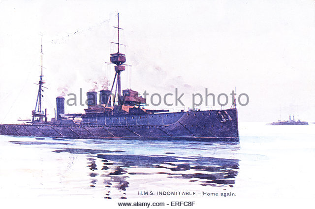 'HMS Indomitable - Home again', early twentieth-century postcard. - Stock Image