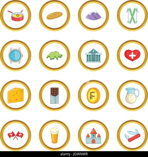 Switzerland travel icons circle - Stock Image