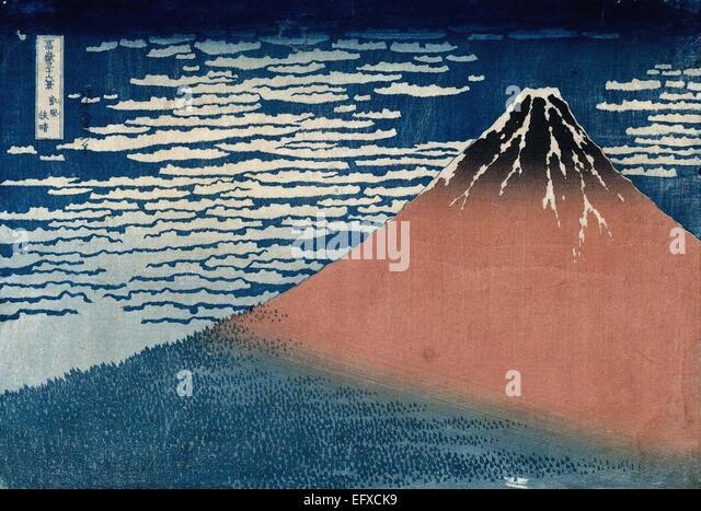 Katsushika Hokusai  Red Fuji - Stock Image