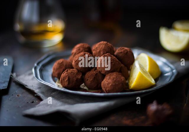 Citrus chocolate truffles - Stock Image