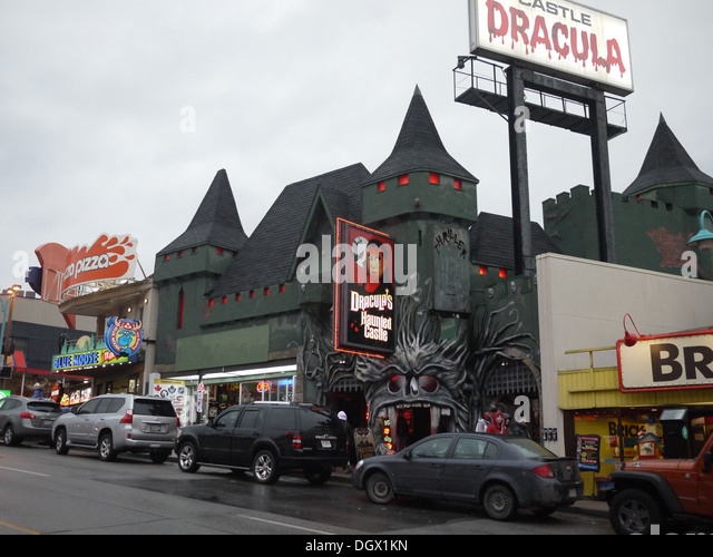 clifton hill dracula castle haunted house - Stock Image