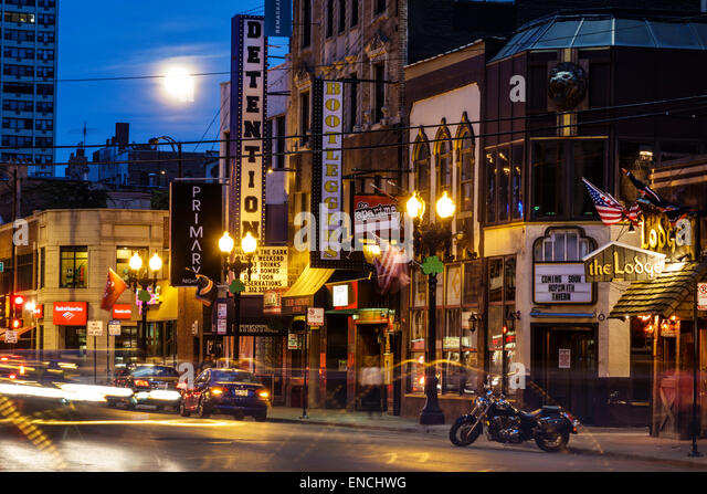 Illinois Chicago Gold Coast Historic District Division Street neighborhood nightlife night bar Detention Nightclub - Stock Image