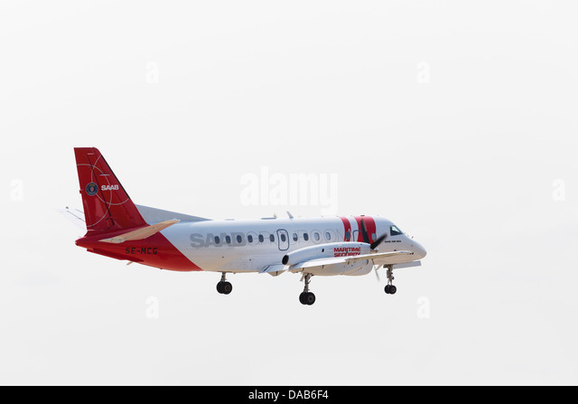 SAAB 340B/Plus maritime security aircraft on approach to RAF Waddington Airshow 2013 - Stock Image