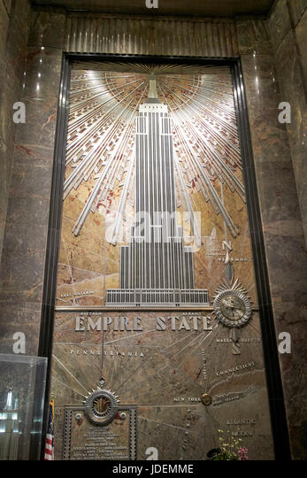 Empire state building lobby stock photos empire state for Empire state building mural