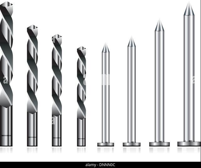 Realistic drill bit and steel nail set - Stock-Bilder