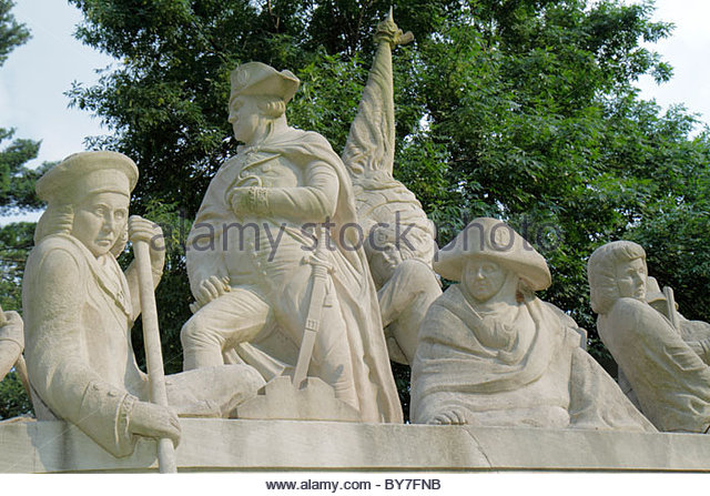 Pennsylvania Bucks County Delaware River Washington Crossing the Delaware Monument Indiana Limestone American Revolution - Stock Image