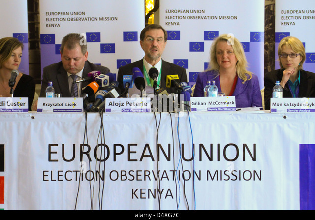 European Union Observer group Press Conference at The Stanleys in Nairobi. The EU Mission was lead by Alojz Peterie - Stock Image