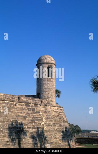 Florida St Augustine El Castillo fort guard tower usa united states oldest city spanish settlement landmark symbol - Stock Image