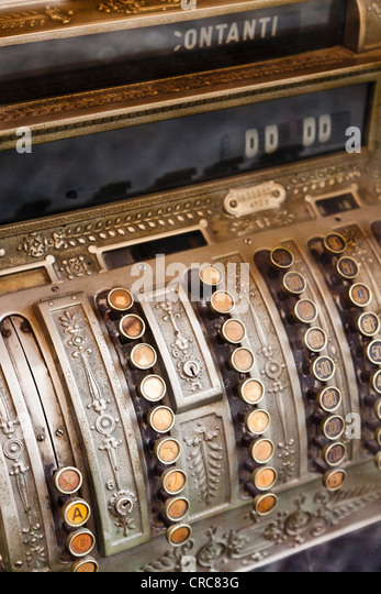 Close up of antique cash register - Stock-Bilder