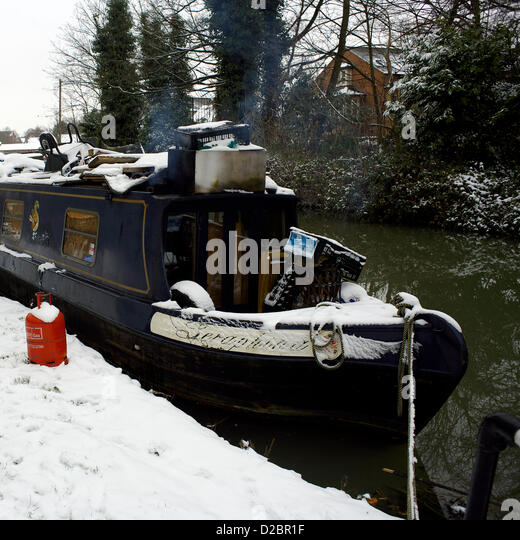 19th January 2013, Snow on the South Oxford Canal, Oxford, UK. - Stock Image