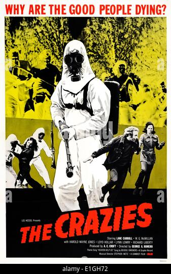 The Crazies (also known as Code Name: Trixie) a 1973 American science fiction horror-action film about the effects - Stock Image