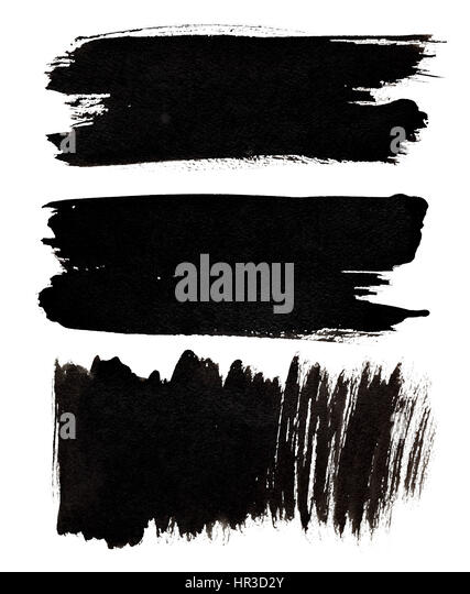 Set of black brush strokes isolated over the white background - Stock Image