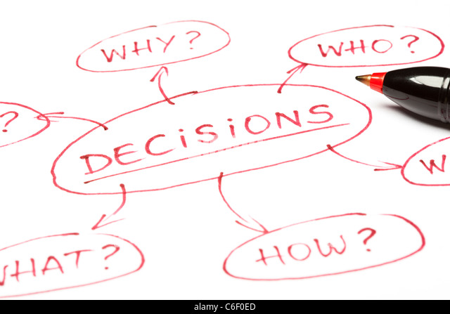 A close up image of a DECISIONS chart made with red pen on paper. - Stock Image