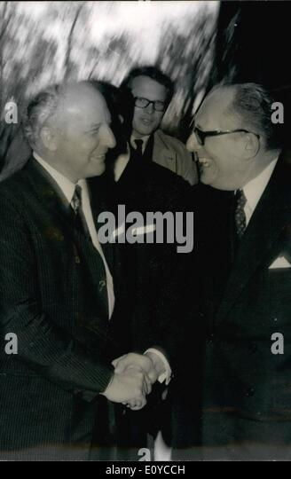 Nov. 11, 1969 - Scheel is the Minister of Foreign Affairs for Germany and Schumann is Minister of Foreign Affairs - Stock Image