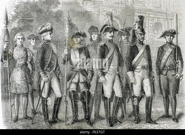 Soldiers of the National Guard during the French Revolution. Engraving, 19th century. - Stock Image