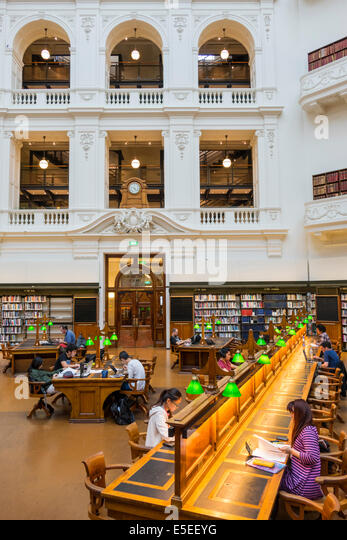 Melbourne Australia Victoria Central Business District CBD Swanston Street State Library of Victoria inside interior - Stock Image