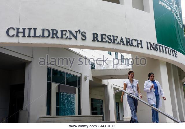 Miami Florida Jackson Memorial Hospital Children's Research Institute medical complex building pediatrics health - Stock Image